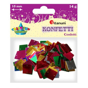 Konfetti kwadraty 15x15mm, 14g mix kolor