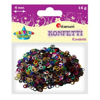 Konfetti pierścienie 6mm, 14g mix kolor