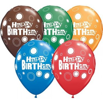 "Balony z nadrukiem Qualatex ""Happy Birthday"" pastel 11"" / 25 szt"