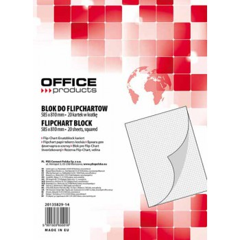 Blok do flipchartów Office Products 58,5x81 cm, w kratkę 20 kartek